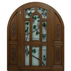 Drzwi drewniane zewnętrzne łukowe